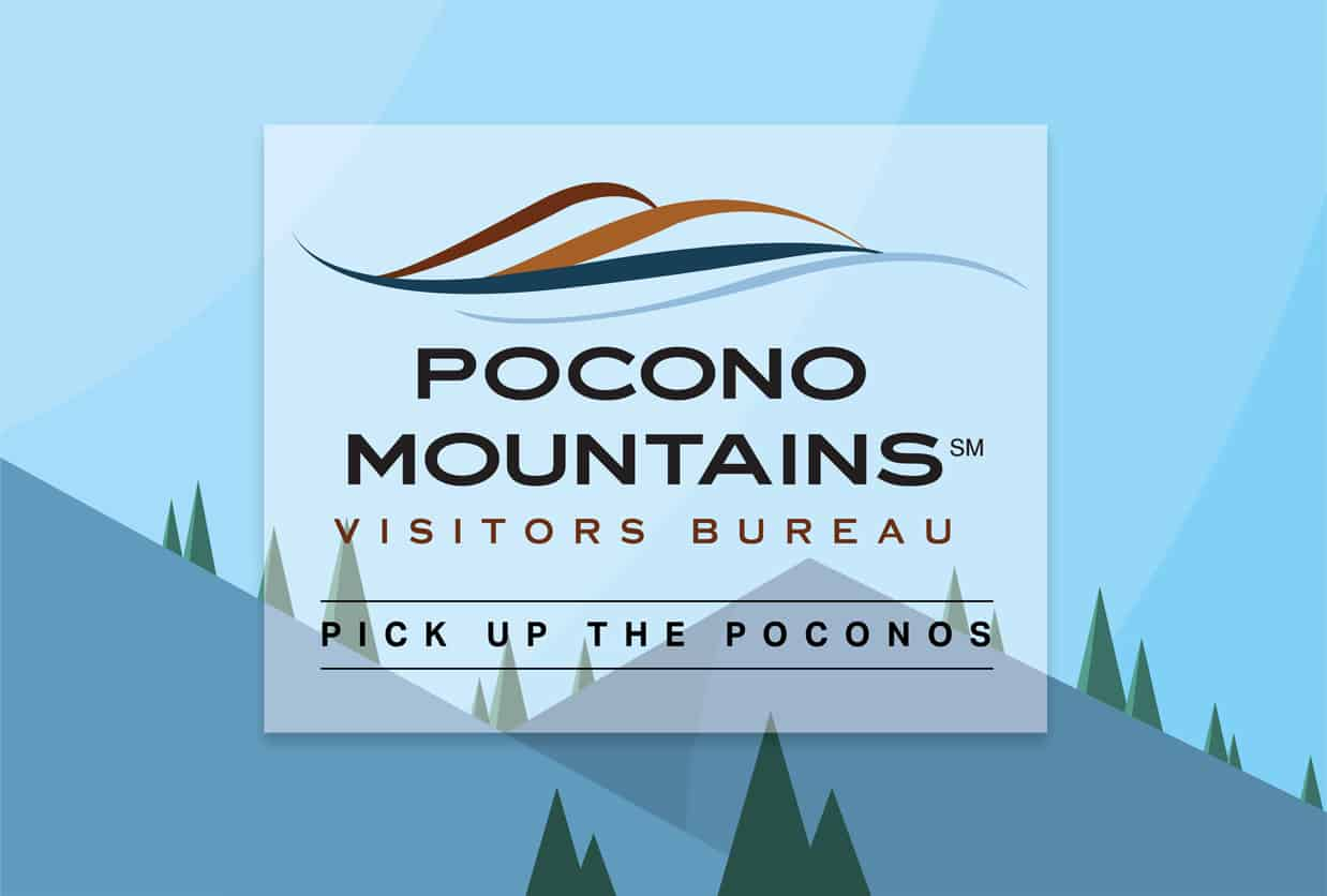 pocono mountains visitors bureau logo with mountains and trees